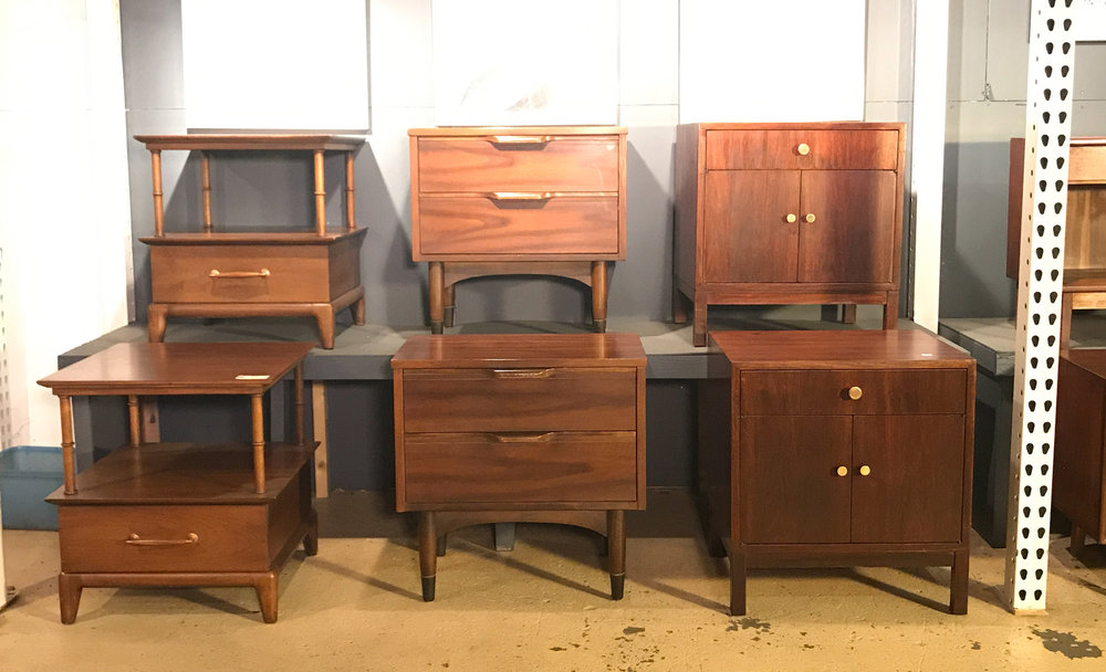 Marvelous NIGHTSTANDS + END TABLES American Mid Century + Scandinavian Refinished  Walnut + Teak. Over 20 Pairs Available In Various Sizes And Styles.  $400 700 Pair.