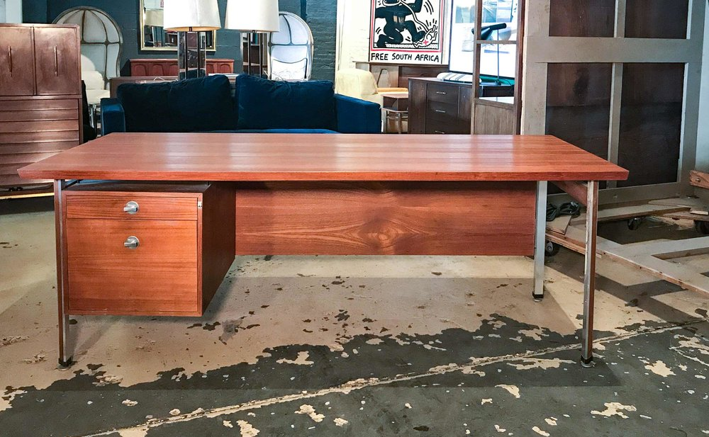 LARGE DANISH TEAK DESK Designed By Finn Juhl For France U0026 Son. Made In  Denmark. 1960 69. Aluminum. Teak. 79w X 35.5d X 28.25h
