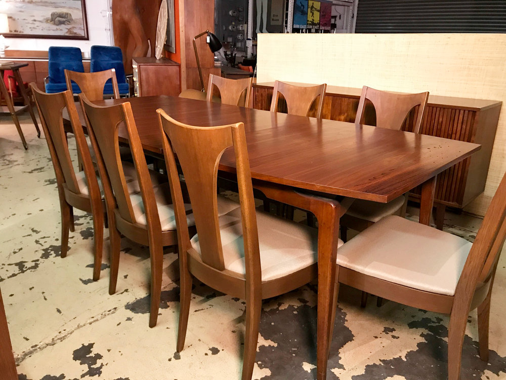 SET OF 8 BROYHILL BRASILIA DINING CHAIRS Single Splat Refinished Walnut Dining  Chairs. New Upholstery. USA 1962. 20w X 19d X 18seat H X 37 Back H