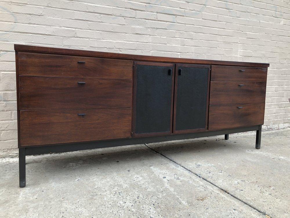 Refinished Walnut, Black Laminate Panels. USA, 1960s 77.75u201dW X 18u201dD X 30.5u201dH