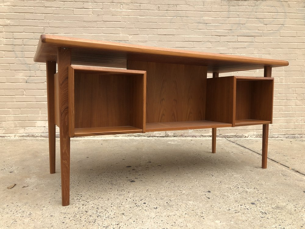 Refinished Teak, Drawers And Bookcases. Denmark, 1960s 61u201dW X 28u201dD X 29u201dH