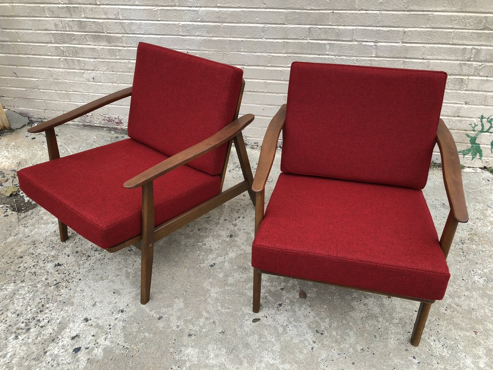 AMERICAN WALNUT LOUNGE CHAIRS Refinished Frames, New Red Upholstery. USA,  1960s 26u201dW X 34u201dD X 28u201dH $1200 Pair