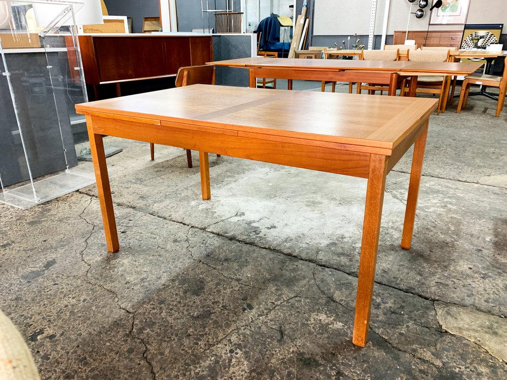 DANISH TEAK HIDDEN LEAF DINING TABLE 53u201dL X 2 Leaves @ 19.5u201d Each X 33u201dD X  29u201dH