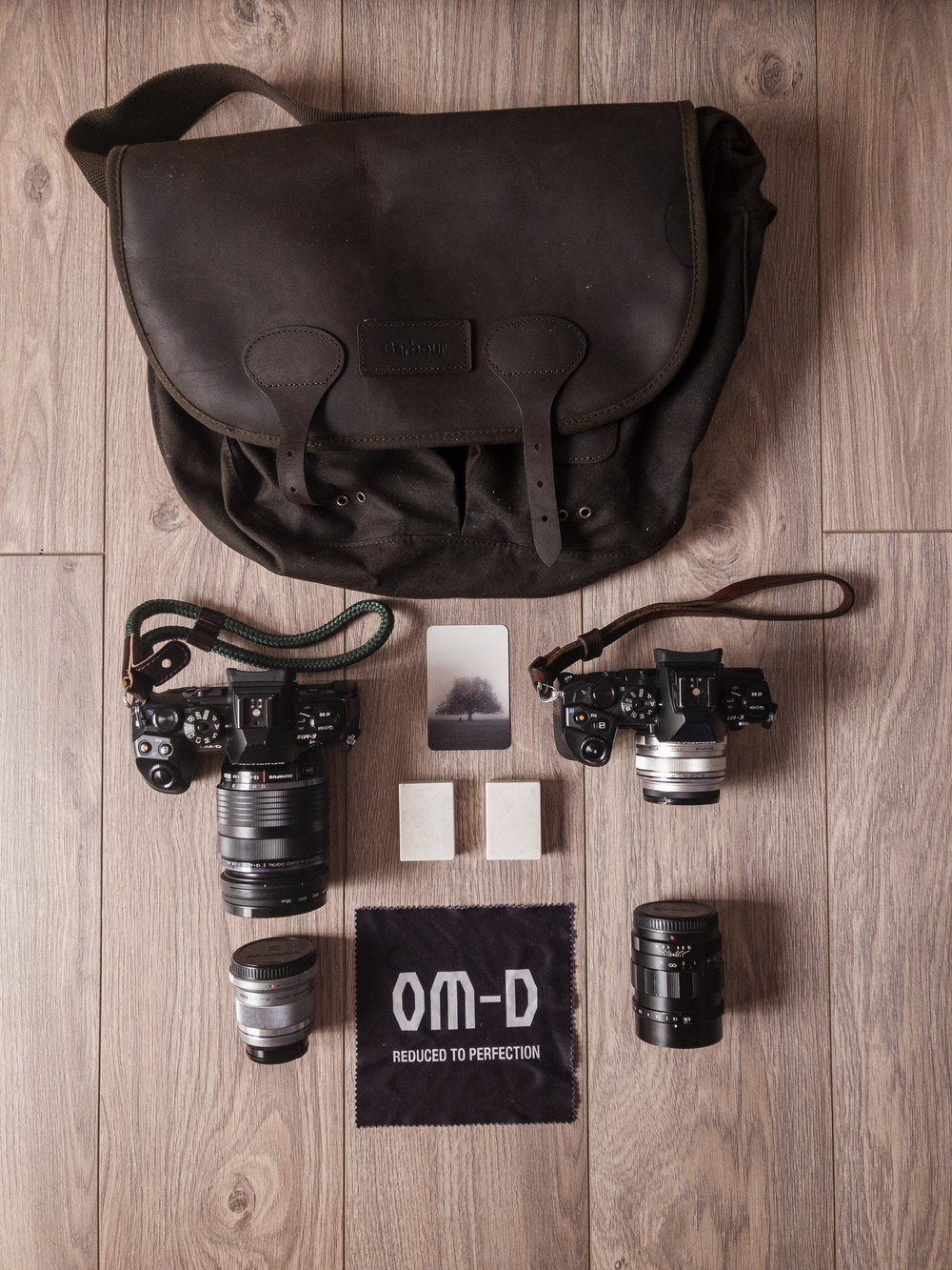 My street photography kit - The equipment I use consists of two bodies, four lenses, and four batteries (one inside each body). Weighing in at only 2.3kg*taken on iPhone X