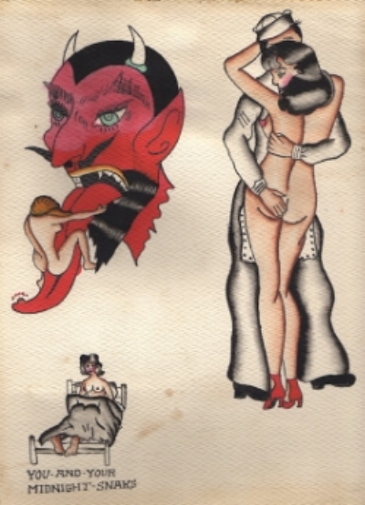 Anonymous, Tattoo Flash, 1930, American; ink & watercolor on paper