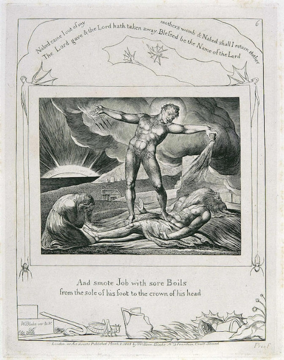 "William Blake, ""Satan Smiting Job with Boils (from The Book of Job);"" 1825; engraving."