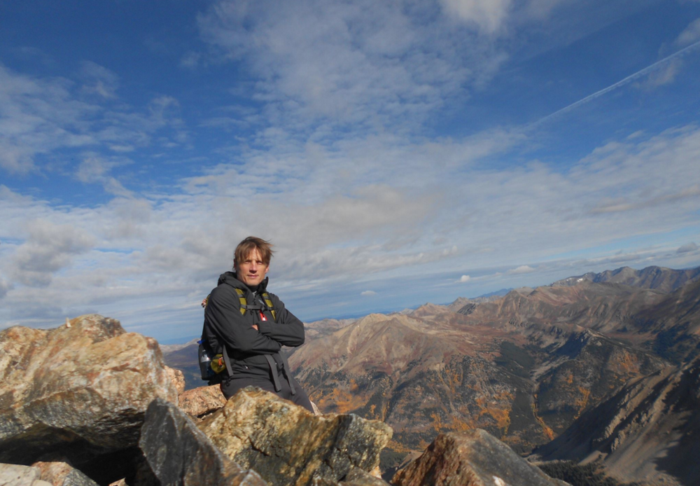 On the summit of La Plata Peak in Colorado (14,360').