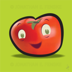 A happy fat tomato with green background