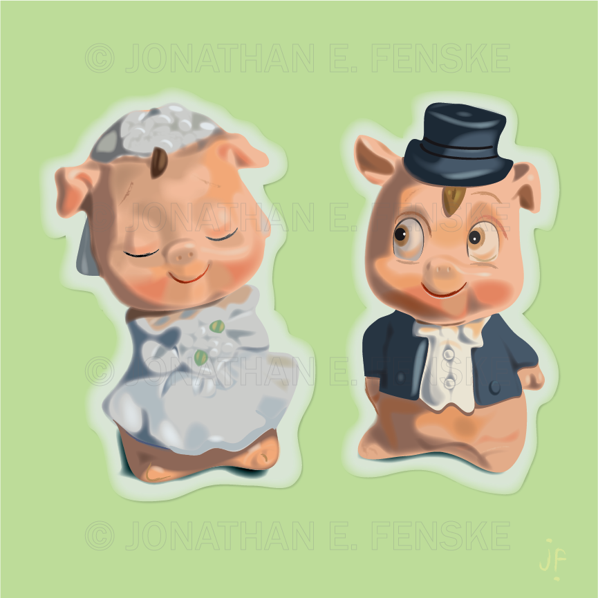 Two pigs get married