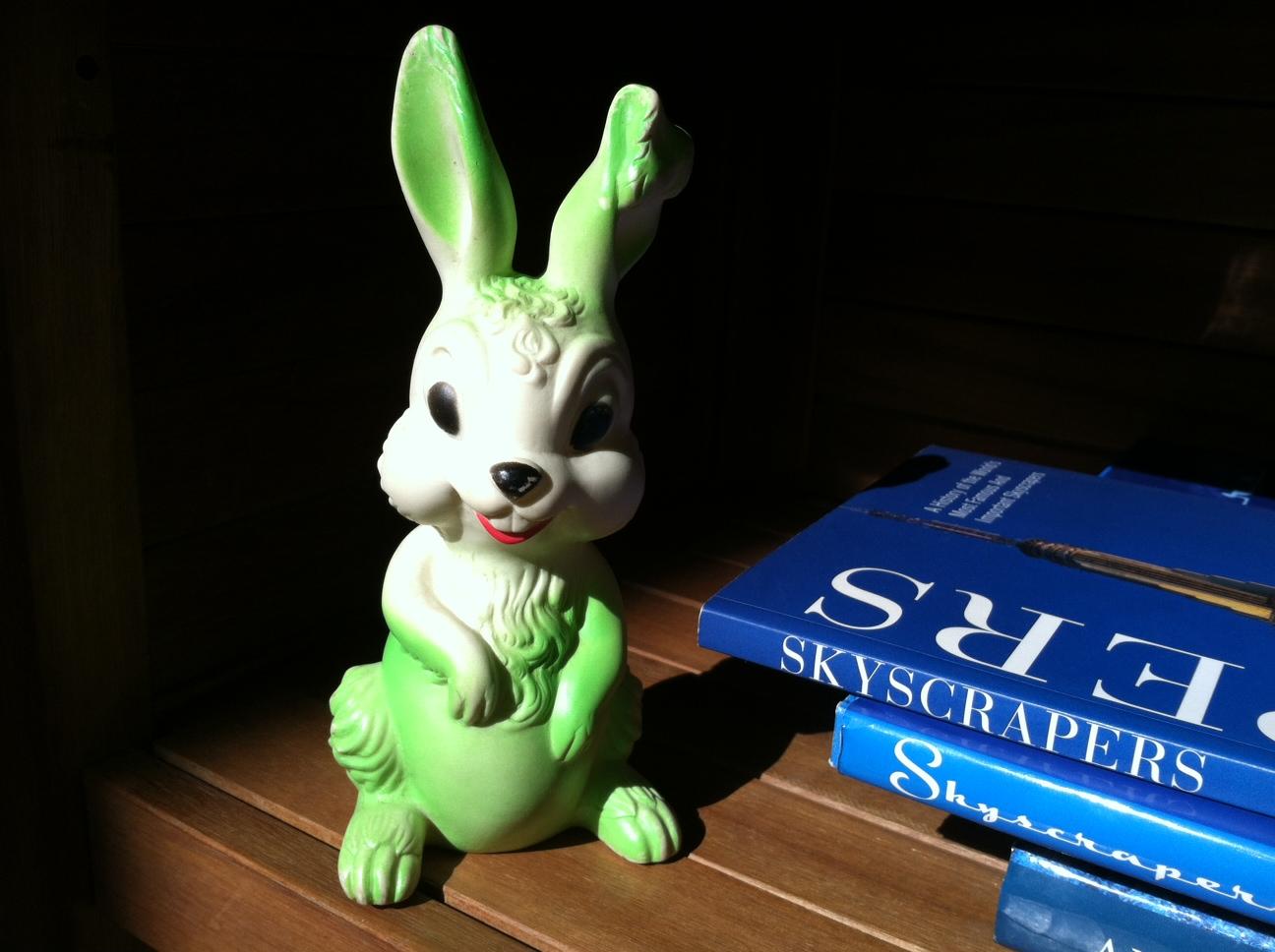 A vintage rubber bunny