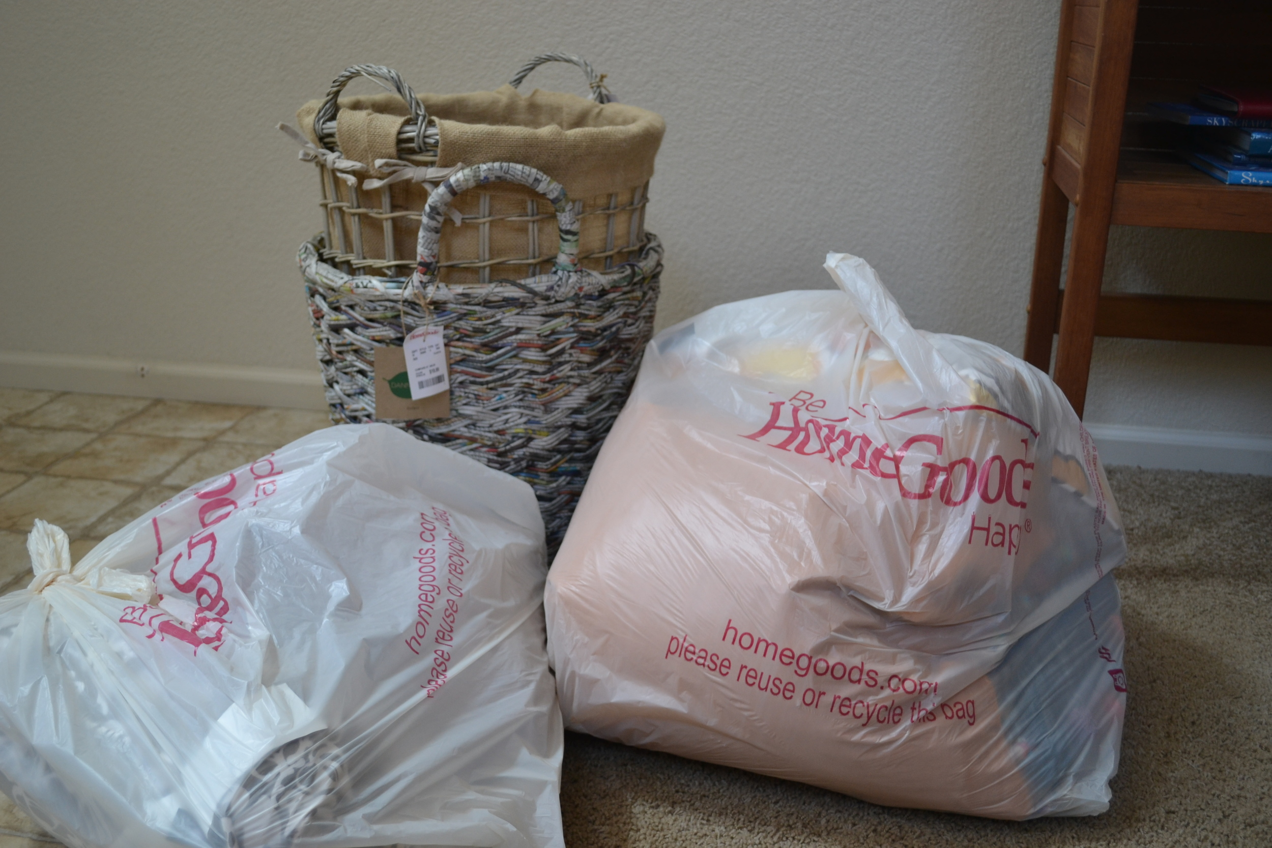A bag of items from Home Goods