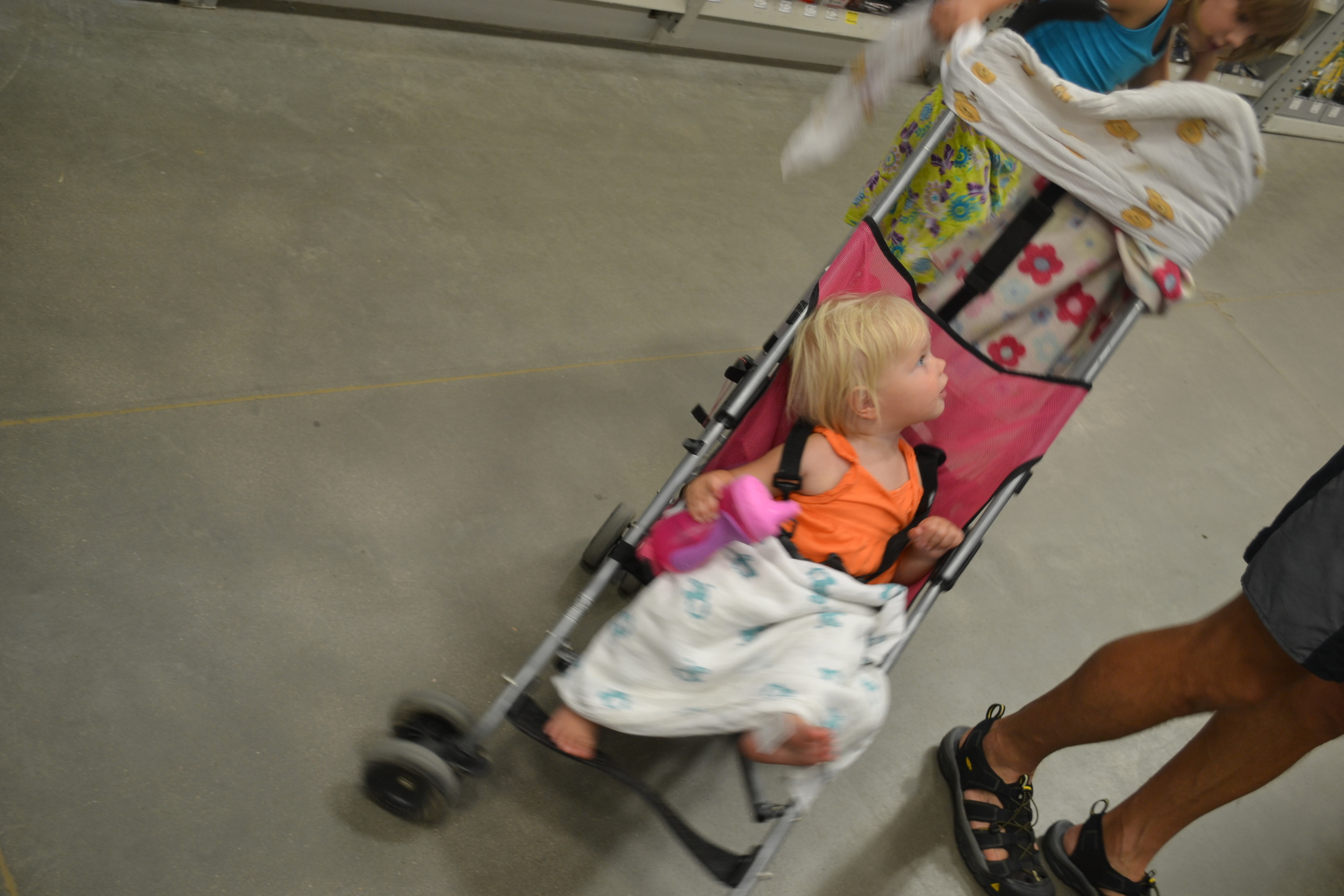 Baby in stroller at Lowes