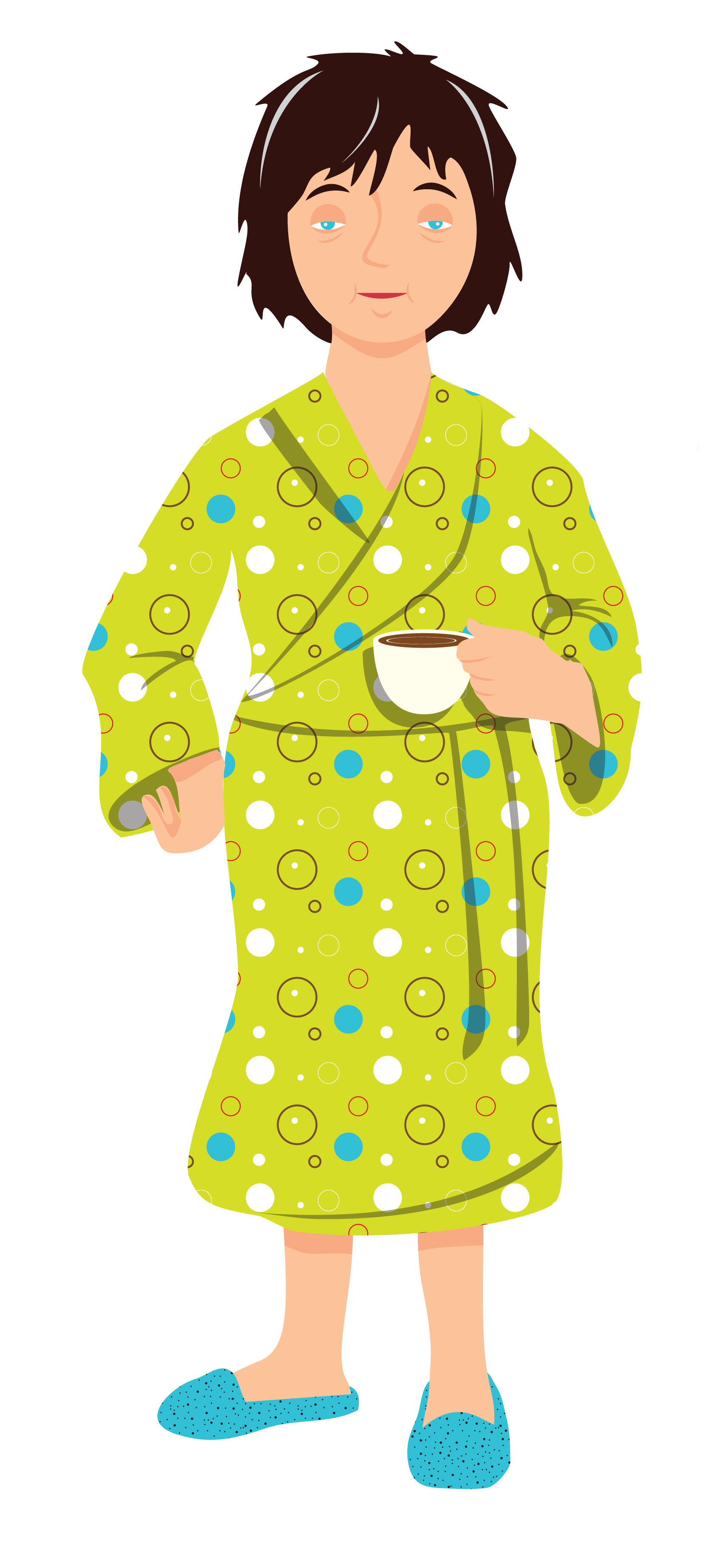 A woman in a bathrobe with coffee illustration