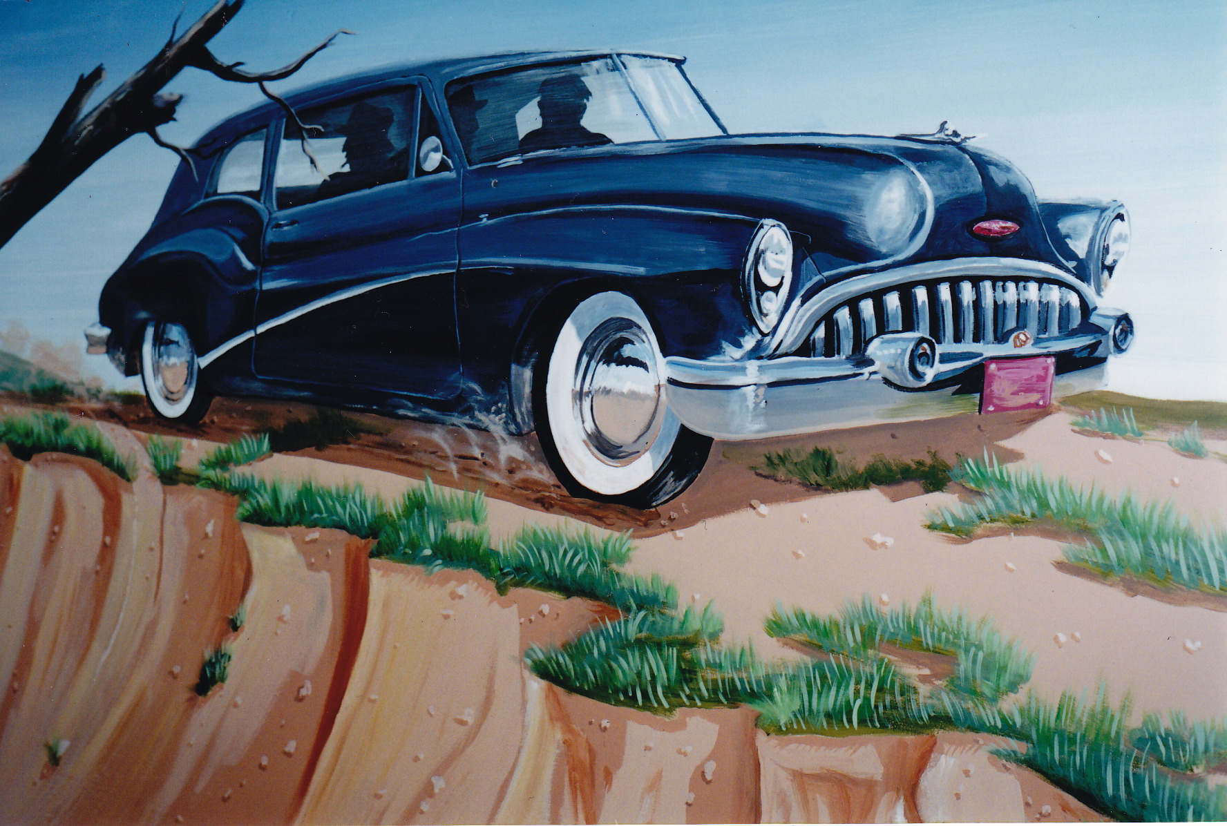 A picture of a mural by Jonathan Fenske of a Flannery OConnor short story A Good Man Is Hard to Find