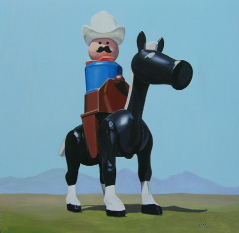 A Fisher Price cowboy painted by Jonathan Fenske