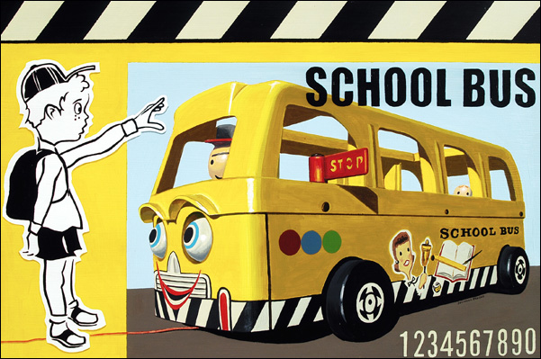 An image of a vintage Fisher Price school bus painted by Jonathan Fenske