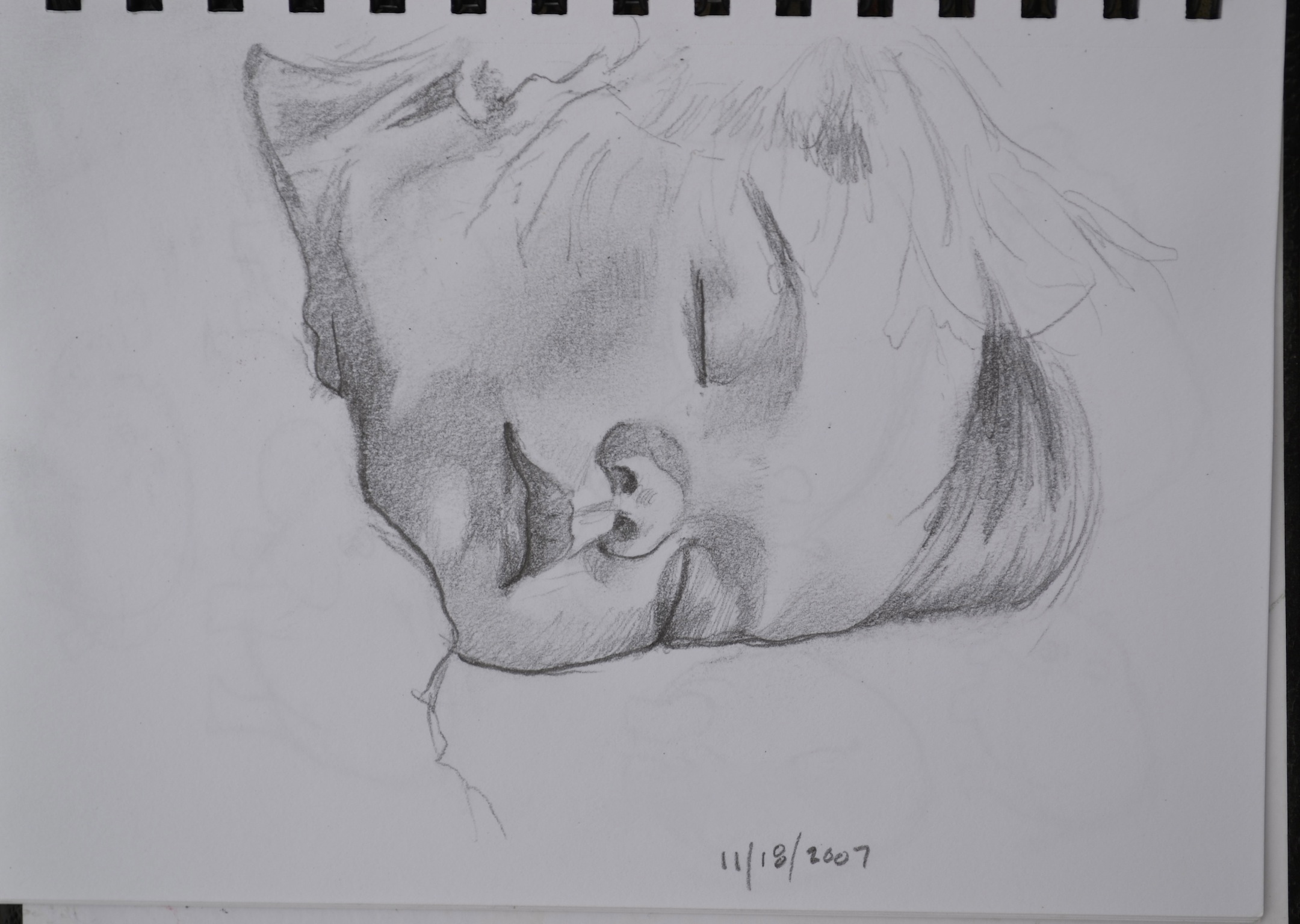 A sketch of a sleeping child by Jonathan Fenske