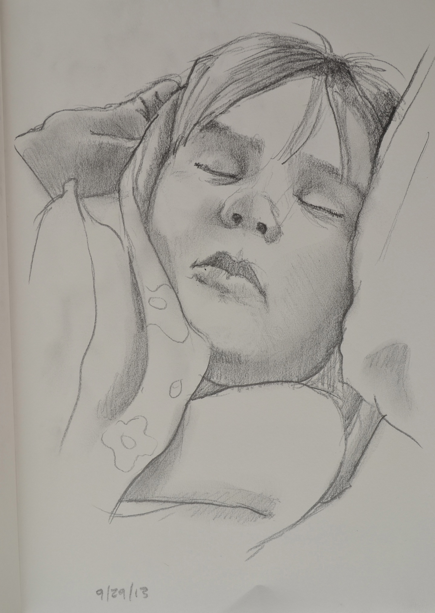 Sleeping child drawing by Jonathan Fenske