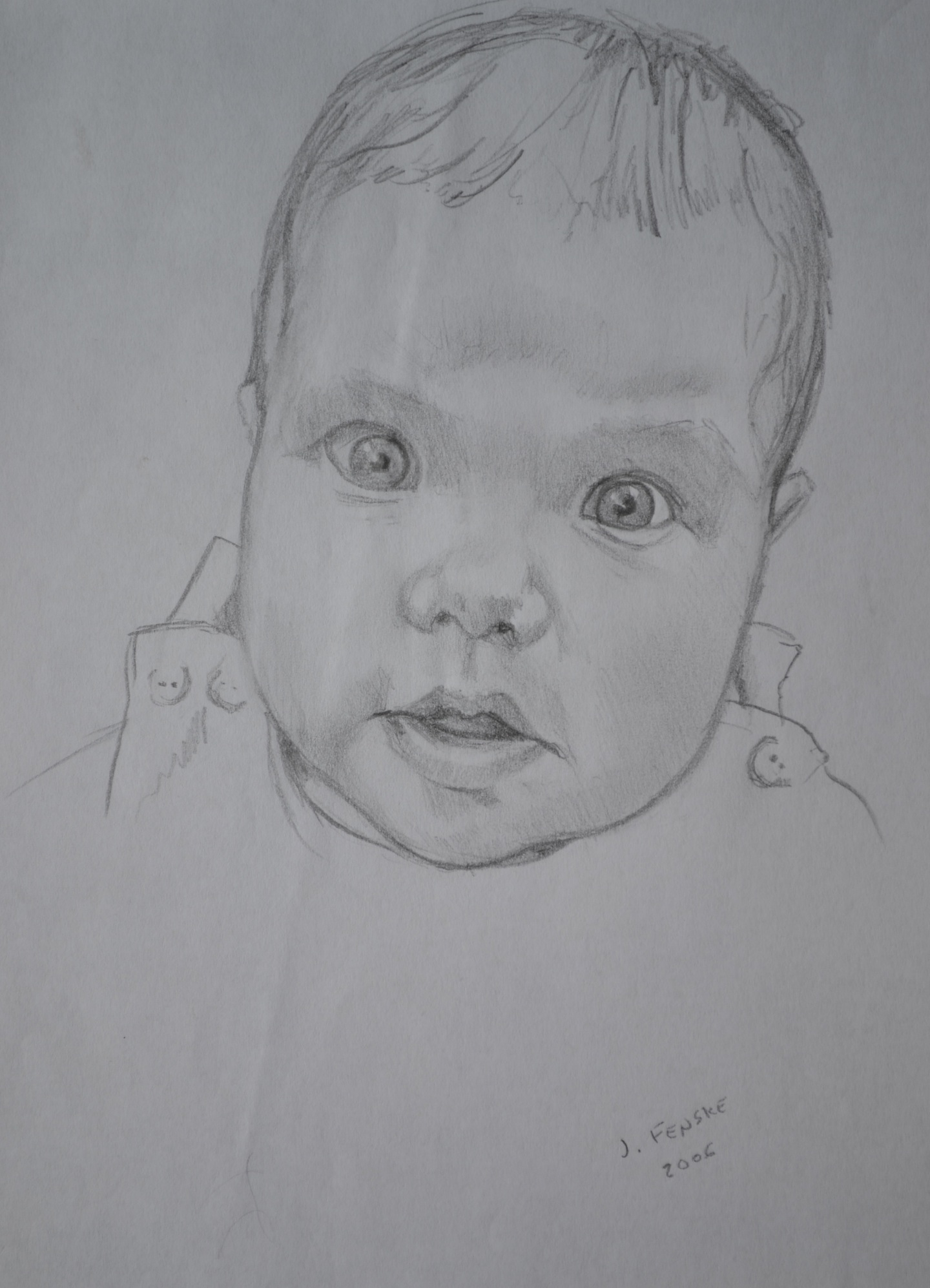 A sketch of a surprised baby by Jonathan Fenske