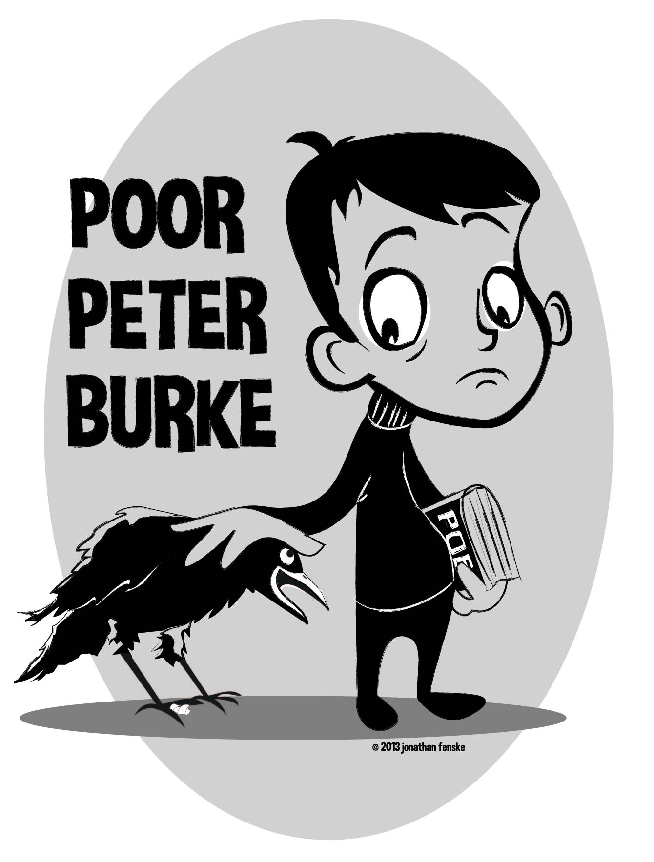 A picture of young Peter Burke and his pet raven by Colorado illustrator Jonathan Fenske