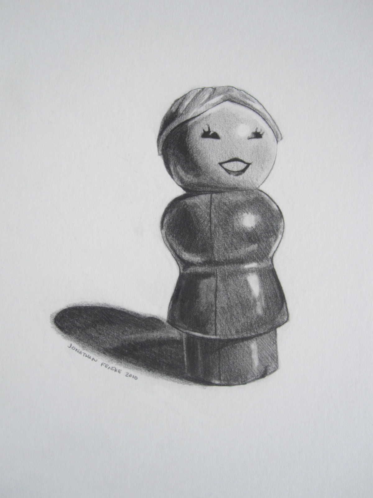 "The Little Woman,  graphite on illustration board. Image is 11""x14""; total board size is 16""x20""; 2008. $99."