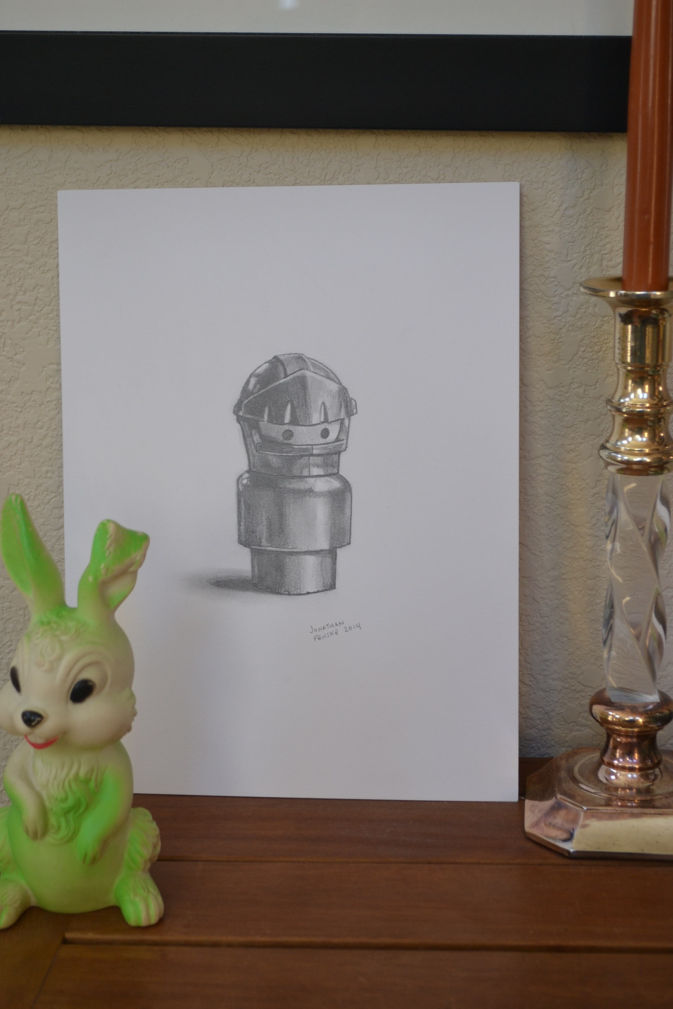A graphite drawing of the knight from the Fisher Price Castle playset by Denver illustrator Jonathan Fenske