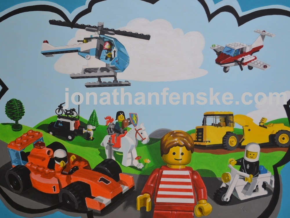 A painting of Lego toys by Jonathan Fenske Denver Artist