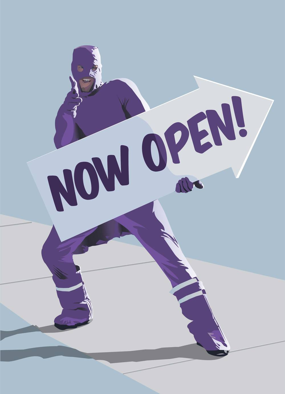 An illustration by Denver illustrator Jonathan Fenske of a sign spinning Purple Man