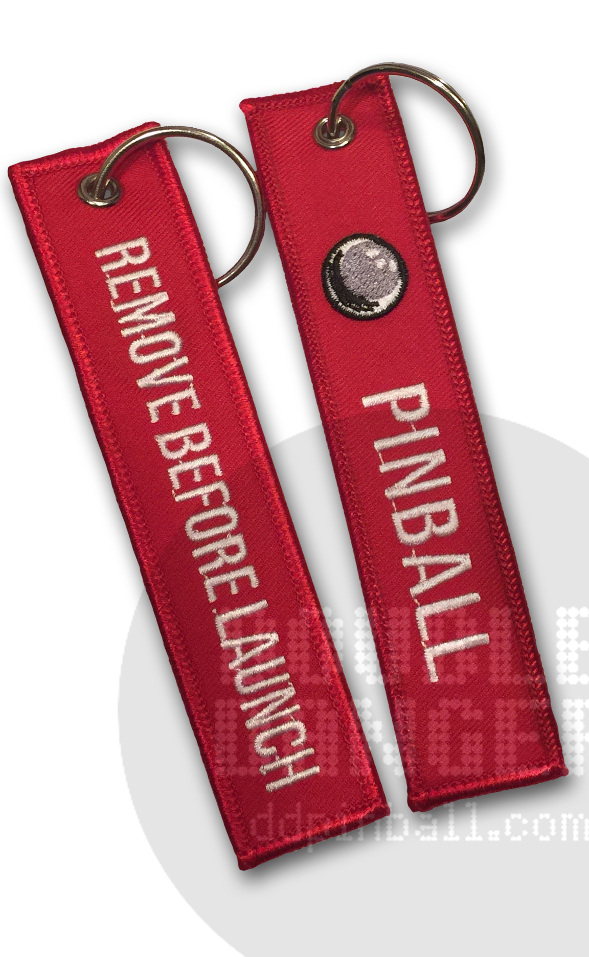 Pinball/Remove Before Launch Red Key Fob — Double Danger Pinball