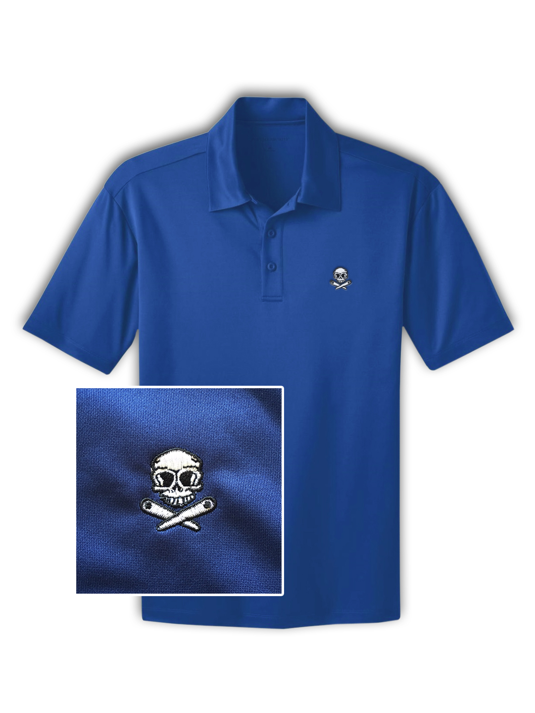Skull And Crossed Flippers Pinball Polo Shirt In Blue Double