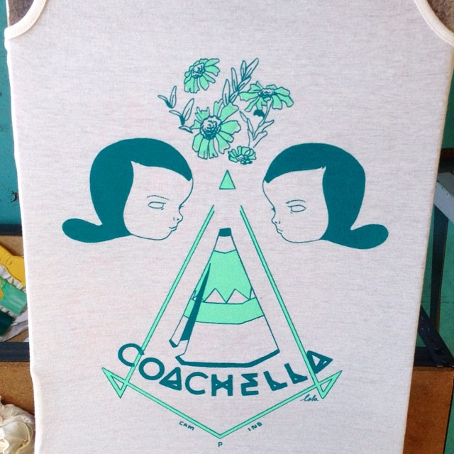 Just received a pic of one of the color ways @todiefor are printing out my #coachellacamping shirts!! They look great you guys!! 🌴 #Coachella #todiefor #lolagil #camping