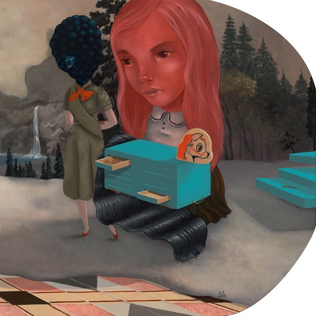 """""""And Here You Find Your X's and Ohh's"""" *right side* Here, the dream.. Some tiny tweezers if it stings … Currently on view at @coreyhelfordgallery #coreyhelford #dreamlands #hihicaro #lolagil"""