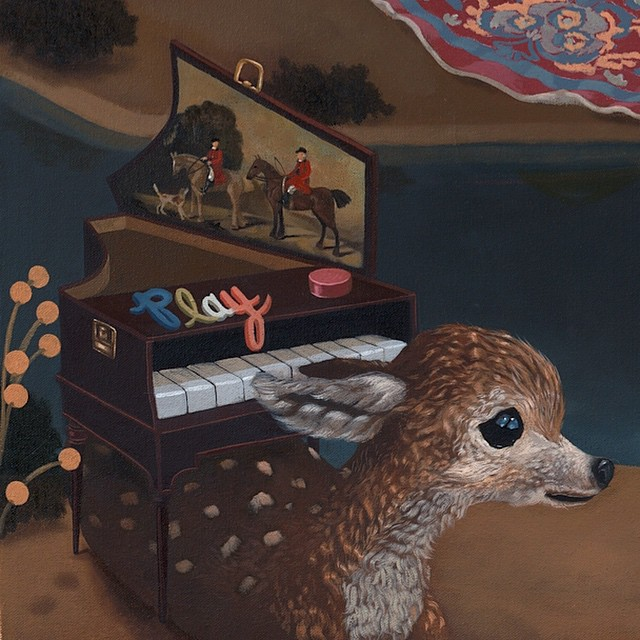 """The Creator"" small detail 36""x60"" oil on canvas .. I created this painting to capture the lifespan of an artist. This bottom left corner reads the beginning from a moment of inspiration #music #georgestubbs #fawn #lolagil #lolafineart #oil #partsofpaintings"