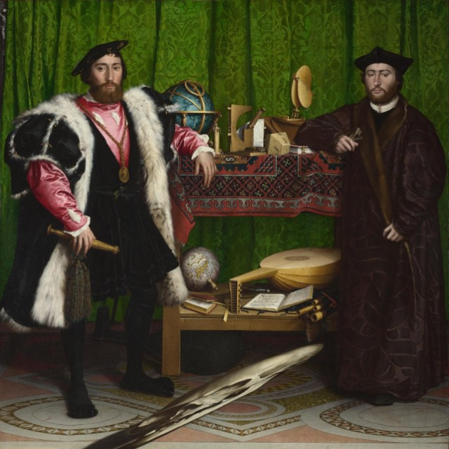 "A little Saturday morning inspiration ""The Ambassadors"" painted by Hans Holbein the Younger 1533. I would stare at this painting every time I went to the National Museum in London. This painting was meant to hang on a wall following a staircase, so as the skull could move with you. The anamorphosis technique is pure magic I think. And there are so many wonderful uses of symbolism in this piece. .. Really missing European museums. #hansholbeintheyounger"