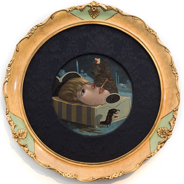 """""""Wanderlust"""" 6""""round oil and acrylic in antique frame. Exhibited in my recent exhibit #theyounger #lolagil"""