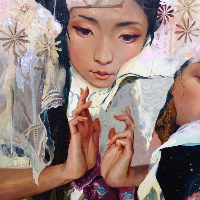 Stopped in to see works of @soeymilky today.. She breathes real life into her paintings, and left me captivated!! Ahhhh those hands are fantastical! 💗 #soeymilk #coreyhelfordgallery