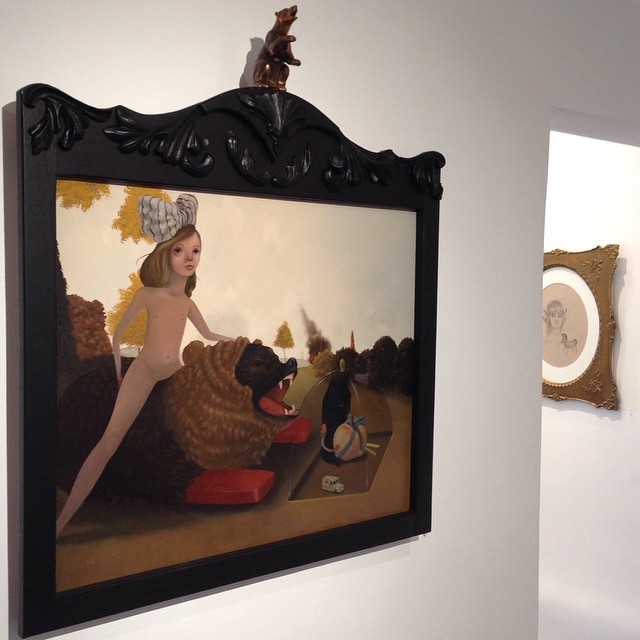 """Come see """"The Younger"""" in its bear frame … Open through 1/3/15 @80forty gallery #lolafineart"""