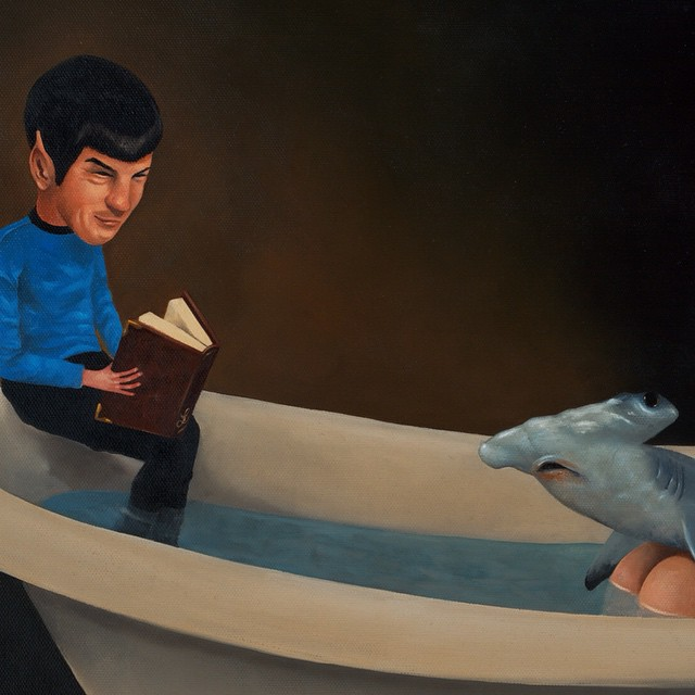 """Spock can read you sweet bath time stories all the time! Take """"Book Soup"""" home thanks to @printsonwood !! Very limited edition wood print available now on their site. Only 20 made 🌲They come ready to hang, or can also easily be framed if you so wish .. #lolafineart #printsonwood #spock #bedtimestories"""