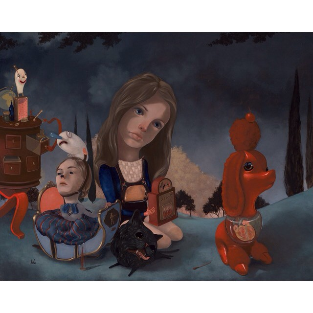 """Wanderlust 2"" 16""x20"" oil and acrylic on board Now on view through 1/3/15 @80forty gallery Los Angeles #lolafineart #theyounger #oils #popsurreal"