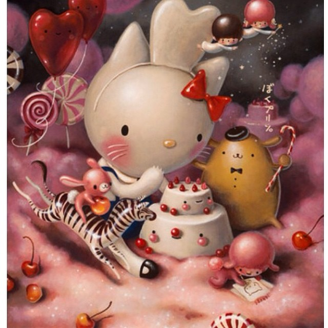 Scrumptious painting by @brandimilne at last nights Hello Kitty Art show at the Japanese American National Museum