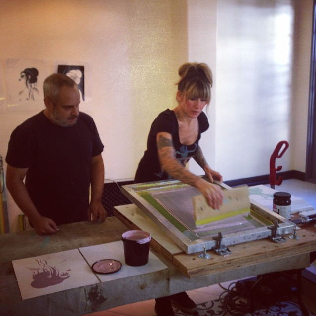 @taramcpherson @andydiesel @dieselfuelprints workin hard on some really gorgeous screen prints #babytattooville