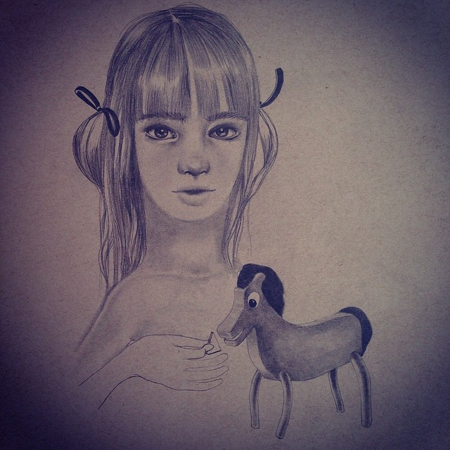 They told her she would grow up to love horses. And she did. #lolafineart