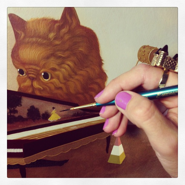 Working :) #lolafineart #paintingaway #cats #piano