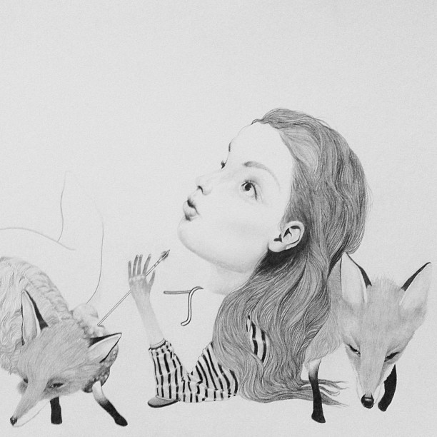 """""""Foxed"""" is available now in my shop! you can see the full image here www.lolafineart.bigcartel.com/"""