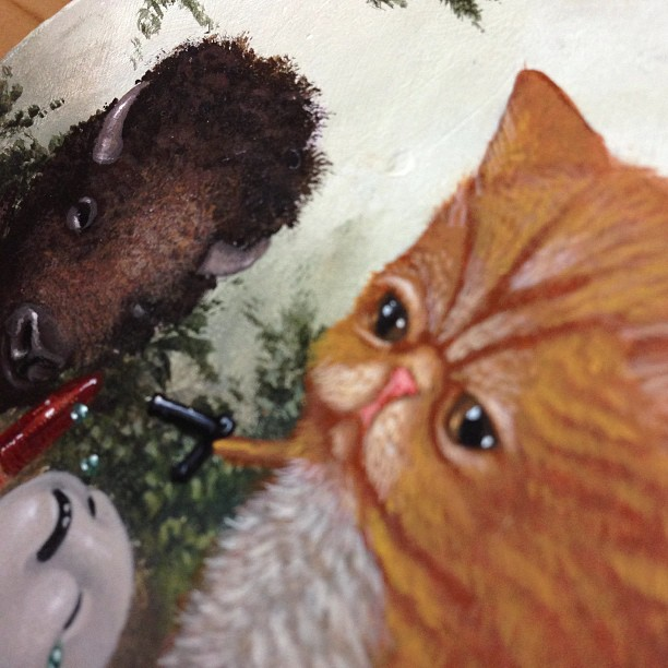 Painting very small #cats #lolafineart #catswithguns