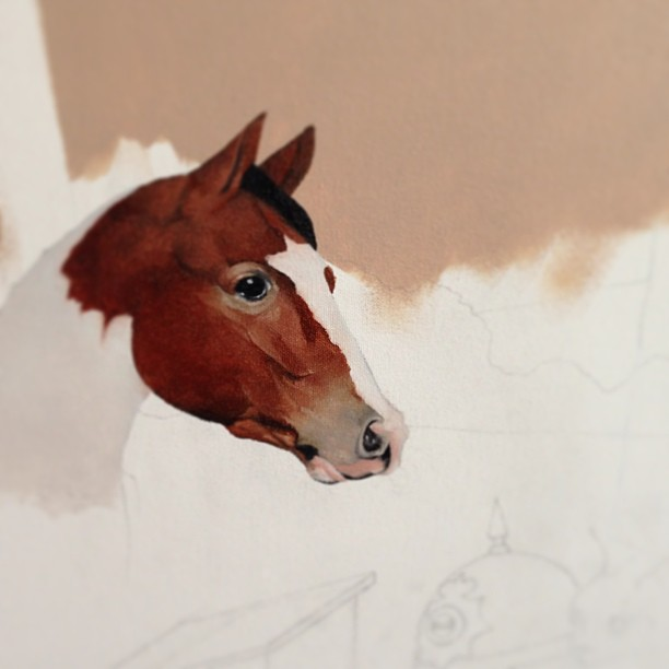 First pass on this glorious horse character in the new big painting. Feels weird to say that, since I don't usually paint in oil, but I am really enjoying this medium more than I thought I would. #wip #lolafineart