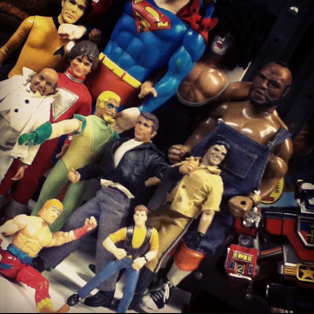 My grandparents are insane toy collectors. I grew up lucky enough to see and play with some very cool stuff. Everything is boxed up safe and sound now. But I like to pull stuff out when visiting. These guys were all in a box marked super heroes and made for a fun photo shoot! #MrT #superman #CaptainKirk #PaulStanley #CHPS #Fonz #Mork #newkidsontheblock #chucknorris #spiderman #hansolo (Taken with Instagram)