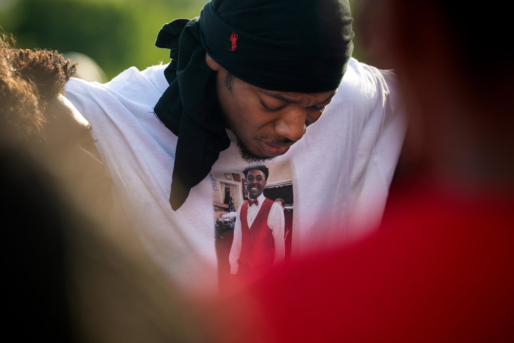AUSTIN, TEXAS. July 6, 2018. Myke Jones, 19, speaks at a vigil honoring his friend Devonte Ortiz, who was shot and killed on July 4, 2018 after a dispute over fireworks. Montinique Monroe for KUT News