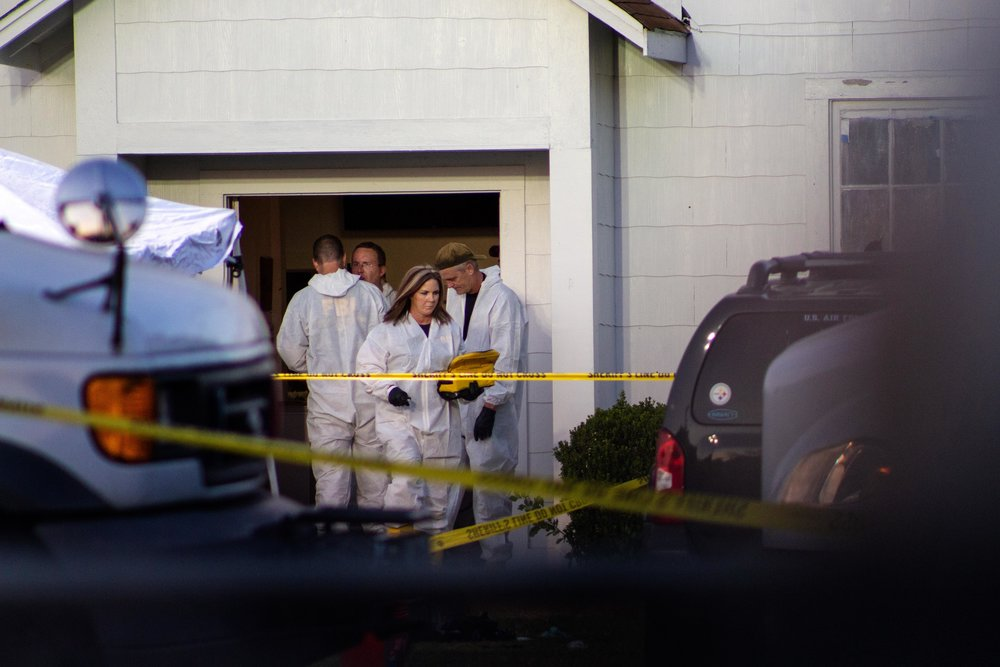 FBI agents work at the scene of a shooting that left 26 people dead and 20 others wounded at the First Baptist Church of Sutherland Springs on Nov. 5, 2017.