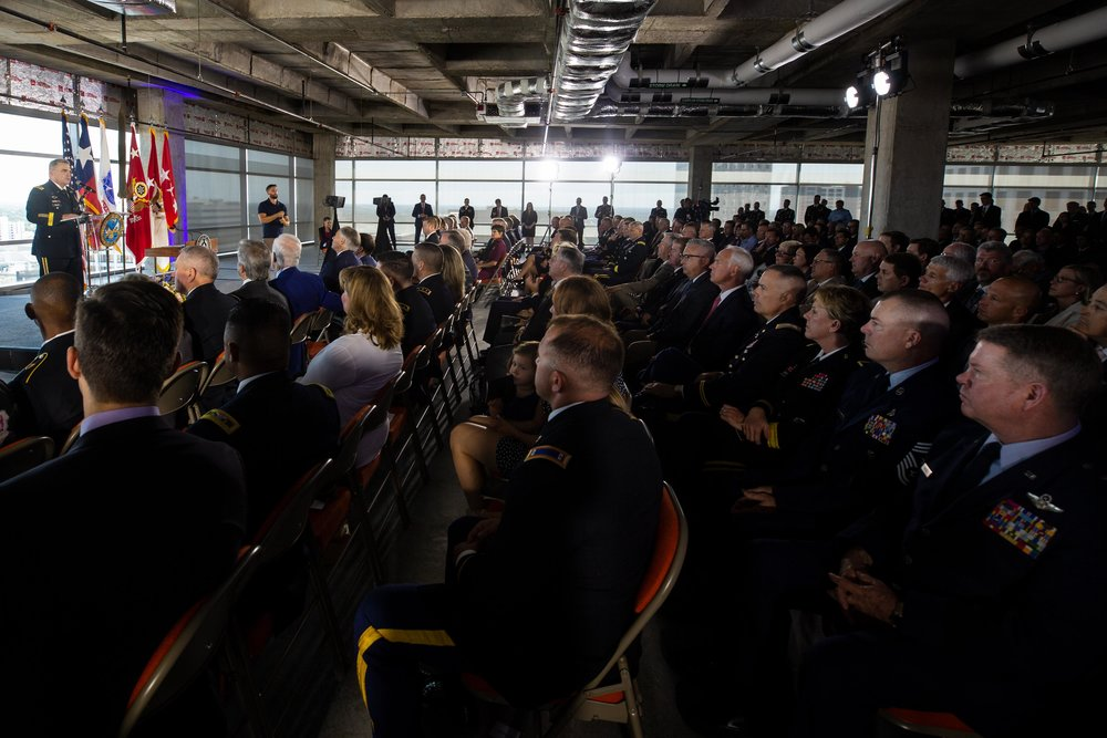 AUSTIN, TX. Aug 24, 2018. Elected officials and military personnel gather at the launch of the U.S Army Futures Command in downtown Austin. Montinique Monroe for KUT News